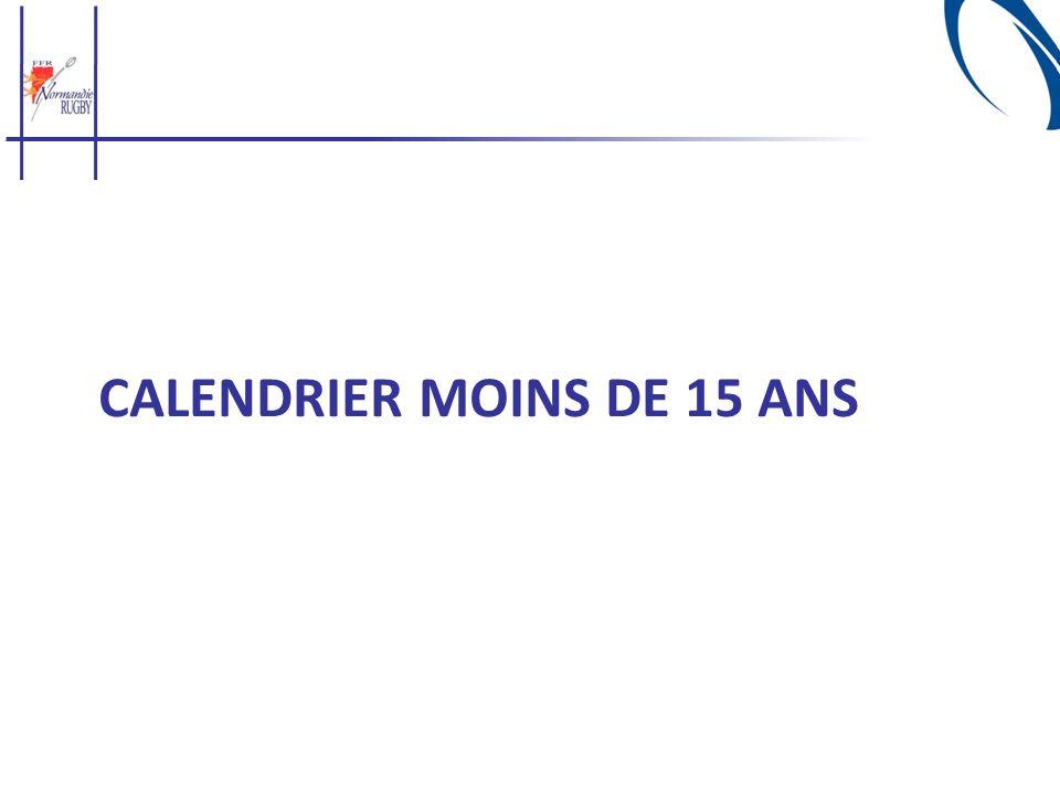 CALENDRIER MOINS DE 15 ANS