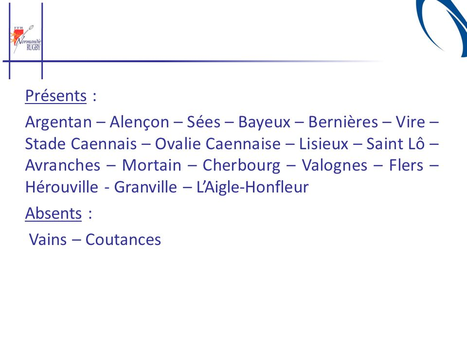 Présents : Argentan – Alençon – Sées – Bayeux – Bernières – Vire – Stade Caennais – Ovalie Caennaise – Lisieux – Saint Lô – Avranches – Mortain – Cher