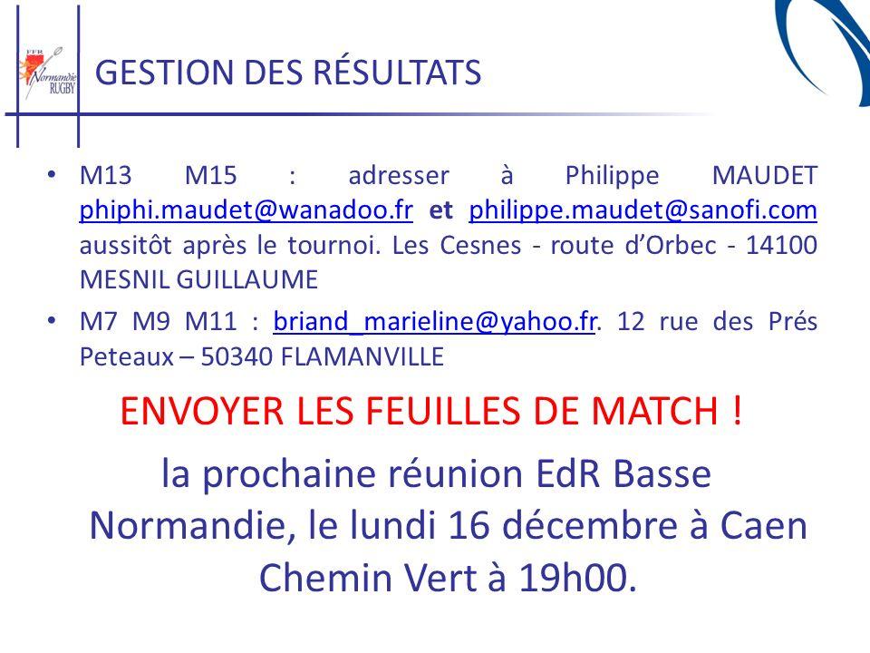 GESTION DES RÉSULTATS M13 M15 : adresser à Philippe MAUDET phiphi.maudet@wanadoo.fr et philippe.maudet@sanofi.com aussitôt après le tournoi. Les Cesne