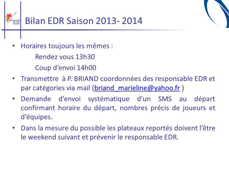 Bilan EDR Saison 2013- 2014 Horaires toujours les mêmes : Rendez vous 13h30 Coup denvoi 14h00 Transmettre à P. BRIAND coordonnées des responsable EDR