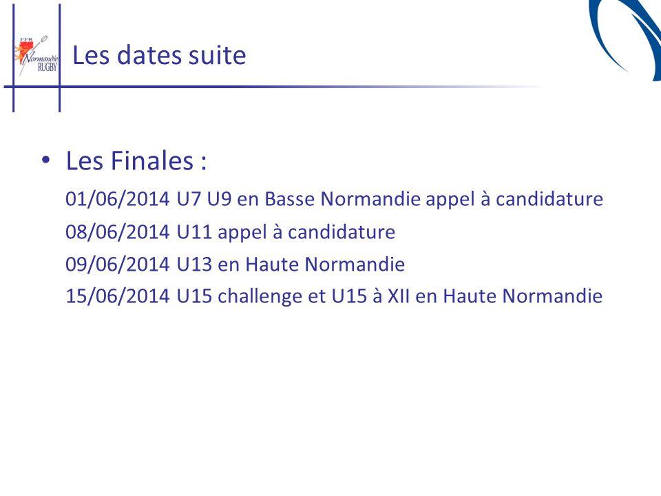 Les dates suite Les Finales : 01/06/2014 U7 U9 en Basse Normandie appel à candidature 08/06/2014 U11 appel à candidature 09/06/2014 U13 en Haute Norma