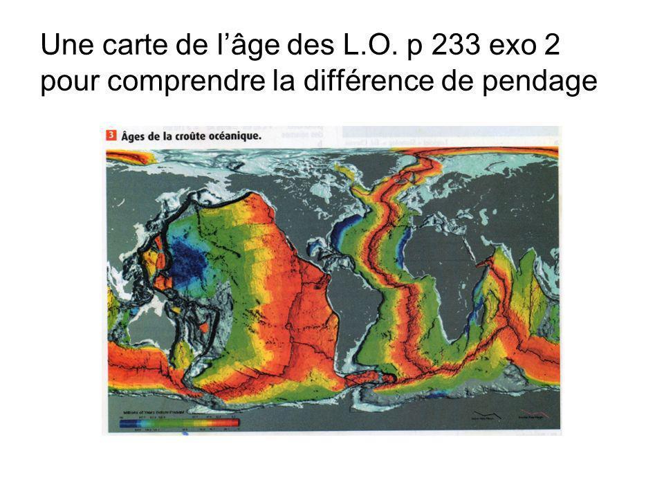 Une carte de lâge des L.O. p 233 exo 2 pour comprendre la différence de pendage