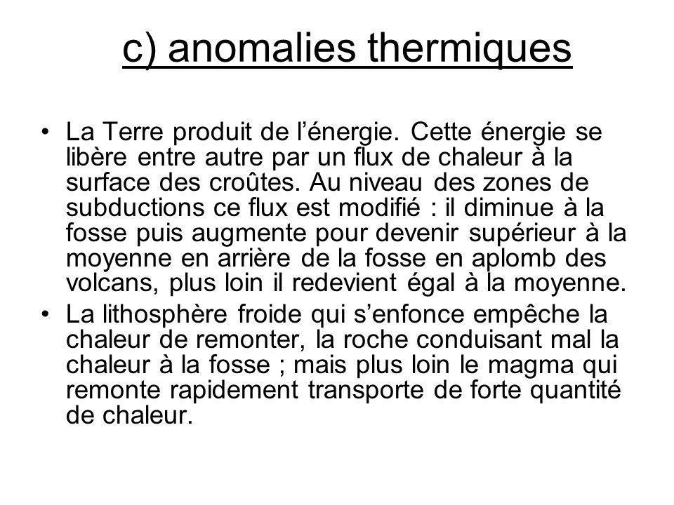 c) anomalies thermiques La Terre produit de lénergie. Cette énergie se libère entre autre par un flux de chaleur à la surface des croûtes. Au niveau d