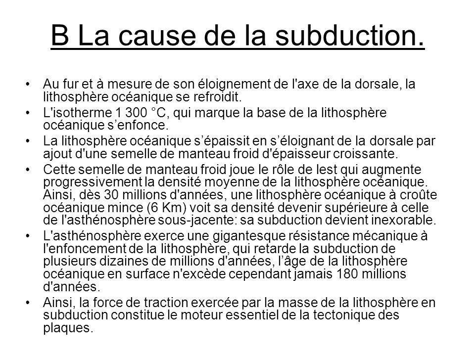 B La cause de la subduction. Au fur et à mesure de son éloignement de l'axe de la dorsale, la lithosphère océanique se refroidit. L'isotherme 1 300 °C