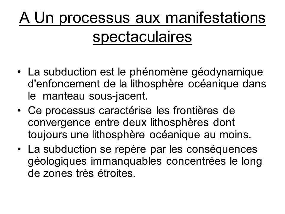 A Un processus aux manifestations spectaculaires La subduction est le phénomène géodynamique d'enfoncement de la lithosphère océanique dans le manteau
