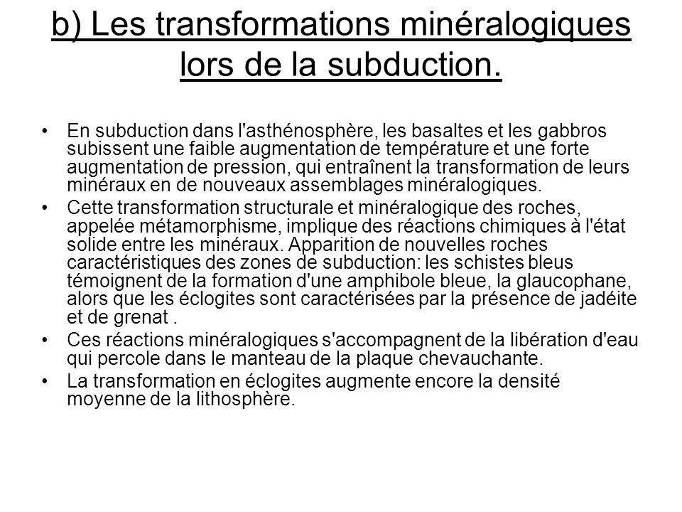 b) Les transformations minéralogiques lors de la subduction. En subduction dans l'asthénosphère, les basaltes et les gabbros subissent une faible augm