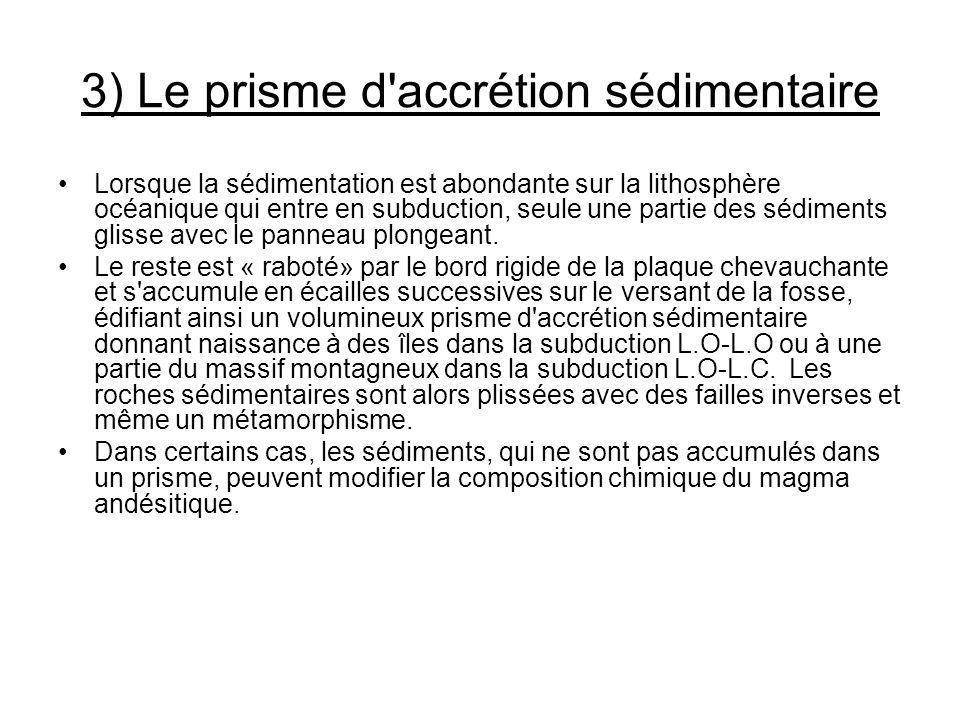 3) Le prisme d'accrétion sédimentaire Lorsque la sédimentation est abondante sur la lithosphère océanique qui entre en subduction, seule une partie de