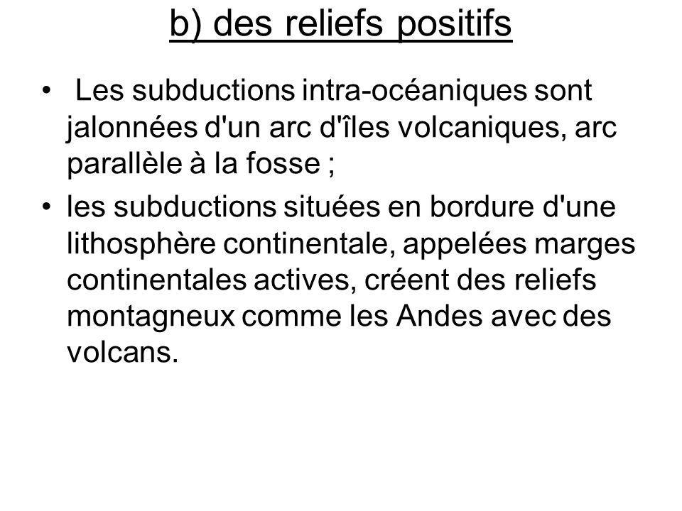 b) des reliefs positifs Les subductions intra-océaniques sont jalonnées d'un arc d'îles volcaniques, arc parallèle à la fosse ; les subductions située