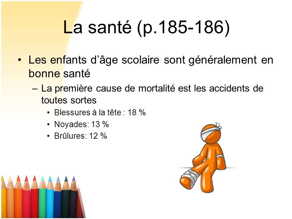 La santé (p.185-186) Les enfants dâge scolaire sont généralement en bonne santé –La première cause de mortalité est les accidents de toutes sortes Ble