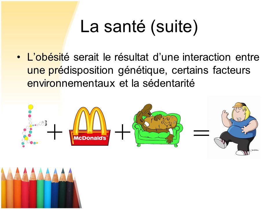 La santé (suite) Lobésité serait le résultat dune interaction entre une prédisposition génétique, certains facteurs environnementaux et la sédentarité