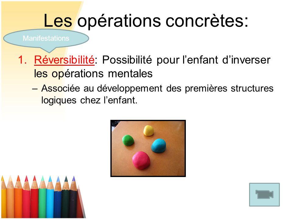 Les opérations concrètes: 1.Réversibilité: Possibilité pour lenfant dinverser les opérations mentales –Associée au développement des premières structu