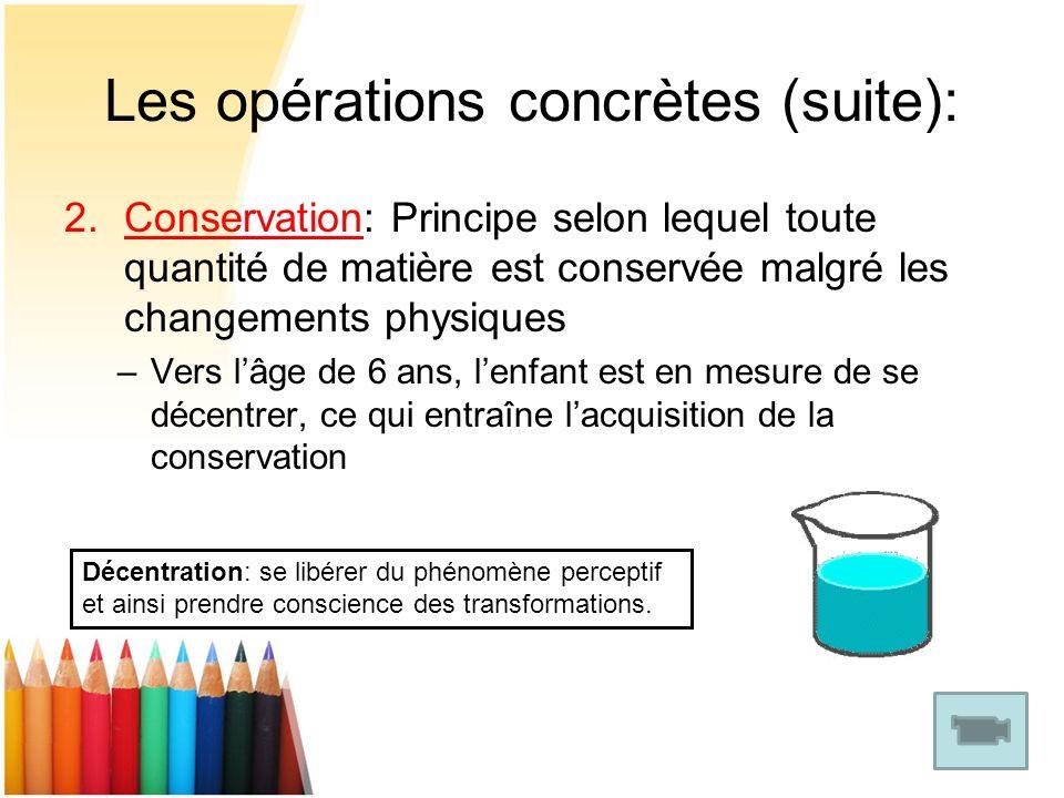 Les opérations concrètes (suite): 2.Conservation: Principe selon lequel toute quantité de matière est conservée malgré les changements physiques –Vers