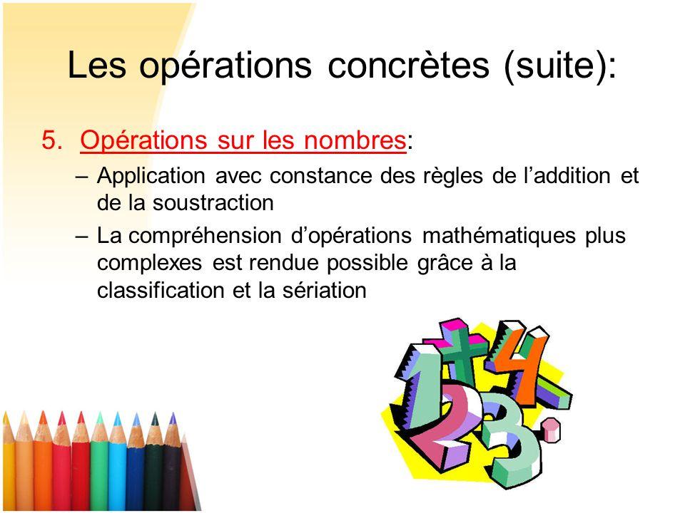 Les opérations concrètes (suite): 5.Opérations sur les nombres: –Application avec constance des règles de laddition et de la soustraction –La compréhe