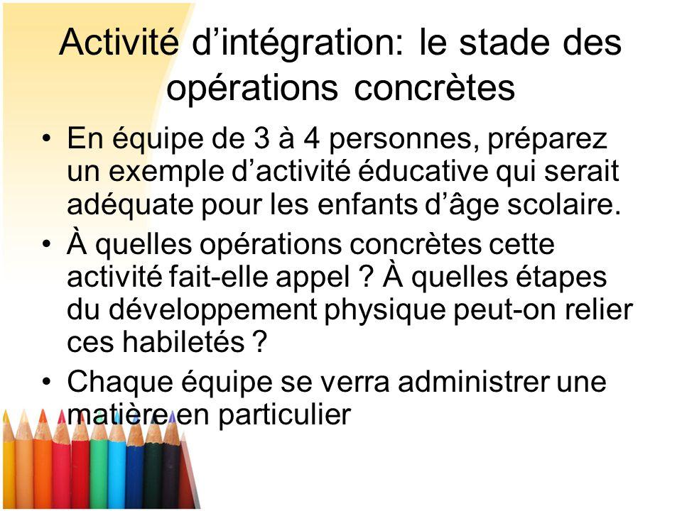Activité dintégration: le stade des opérations concrètes En équipe de 3 à 4 personnes, préparez un exemple dactivité éducative qui serait adéquate pou