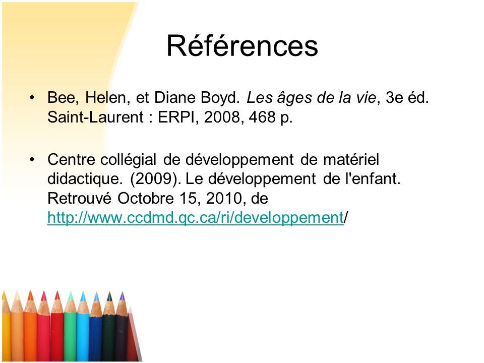 Références Bee, Helen, et Diane Boyd. Les âges de la vie, 3e éd. Saint-Laurent : ERPI, 2008, 468 p. Centre collégial de développement de matériel dida