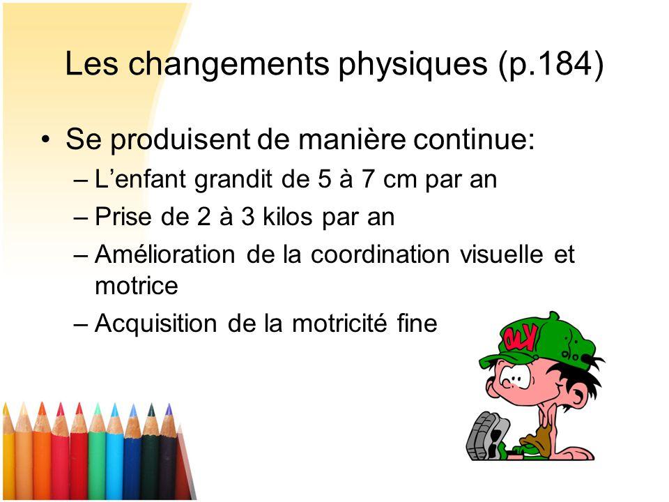 Les changements physiques (p.184) Se produisent de manière continue: –Lenfant grandit de 5 à 7 cm par an –Prise de 2 à 3 kilos par an –Amélioration de