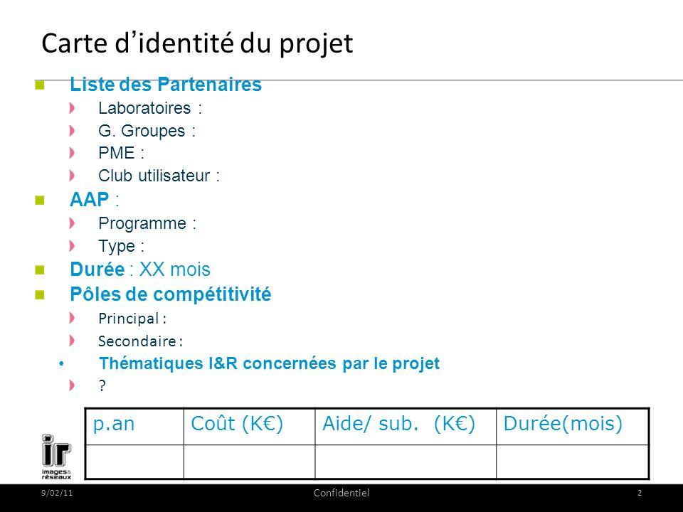 9/02/11 Confidentiel 2 Carte didentité du projet Liste des Partenaires Laboratoires : G. Groupes : PME : Club utilisateur : AAP : Programme : Type : D