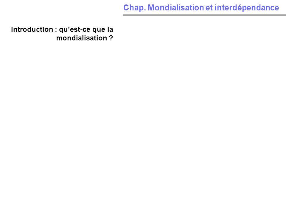 Introduction : quest-ce que la mondialisation ? Chap. Mondialisation et interdépendance