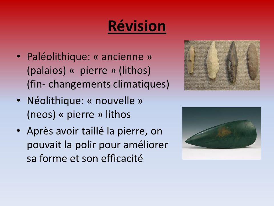Révision Paléolithique: « ancienne » (palaios) « pierre » (lithos) (fin- changements climatiques) Néolithique: « nouvelle » (neos) « pierre » lithos A