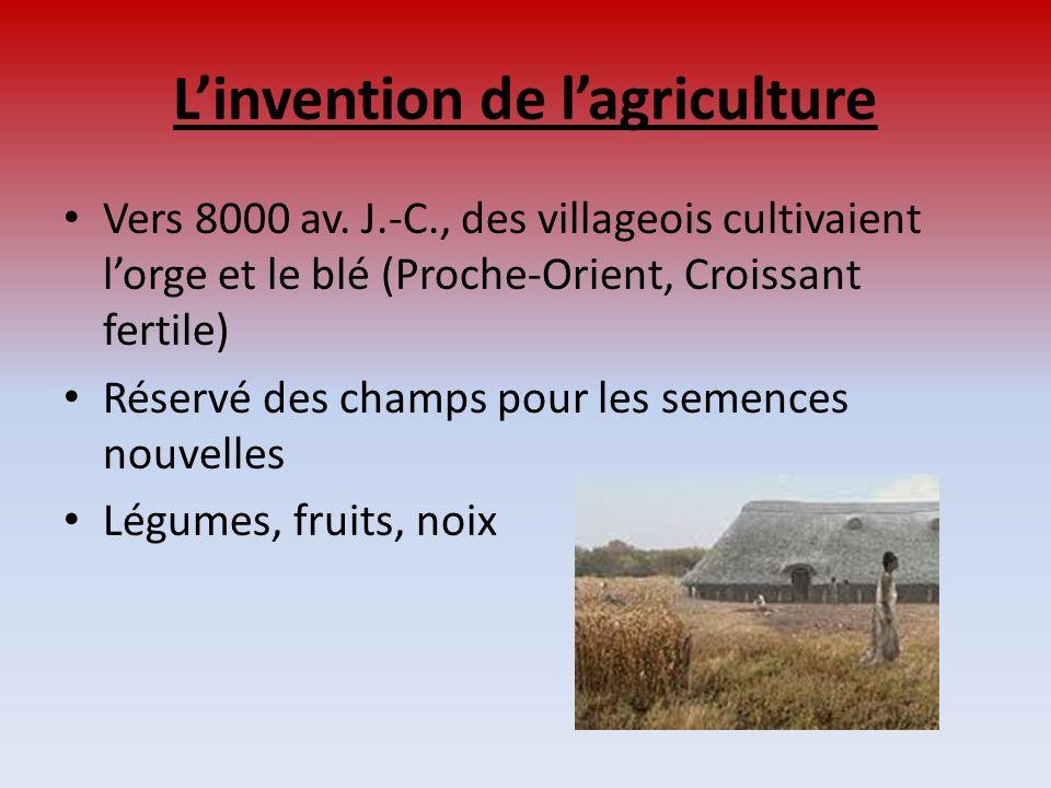 Linvention de lagriculture Vers 8000 av. J.-C., des villageois cultivaient lorge et le blé (Proche-Orient, Croissant fertile) Réservé des champs pour