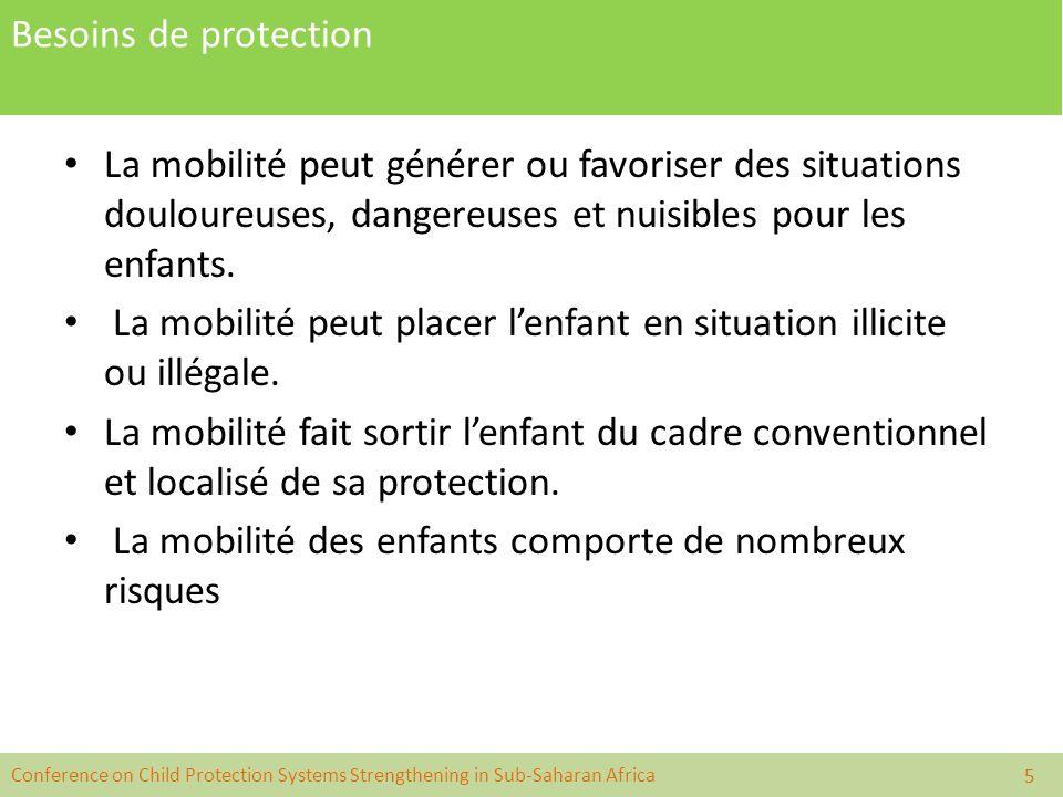 Conference on Child Protection Systems Strengthening in Sub-Saharan Africa Besoins de protection La mobilité peut générer ou favoriser des situations