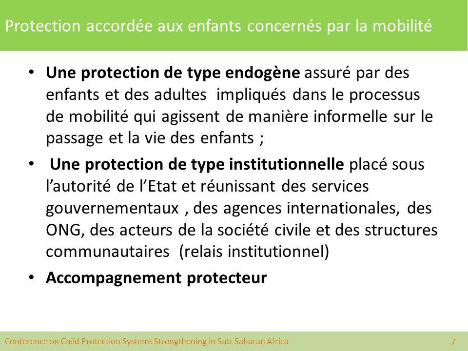 Conference on Child Protection Systems Strengthening in Sub-Saharan Africa Protection accordée aux enfants concernés par la mobilité p Une protection