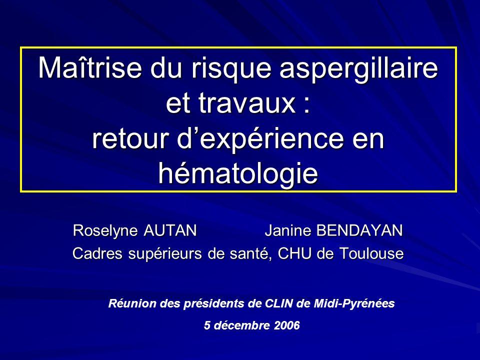 Maîtrise du risque aspergillaire et travaux : retour dexpérience en hématologie Roselyne AUTAN Janine BENDAYAN Cadres supérieurs de santé, CHU de Toul