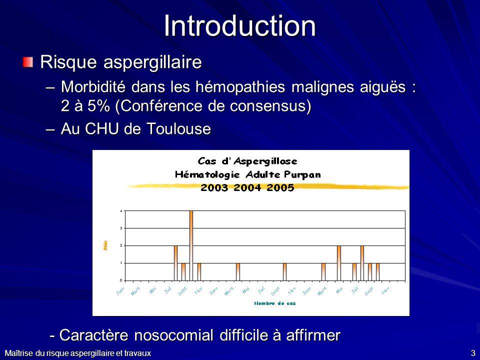 Maîtrise du risque aspergillaire et travaux3 Introduction Risque aspergillaire –Morbidité dans les hémopathies malignes aiguës : 2 à 5% (Conférence de