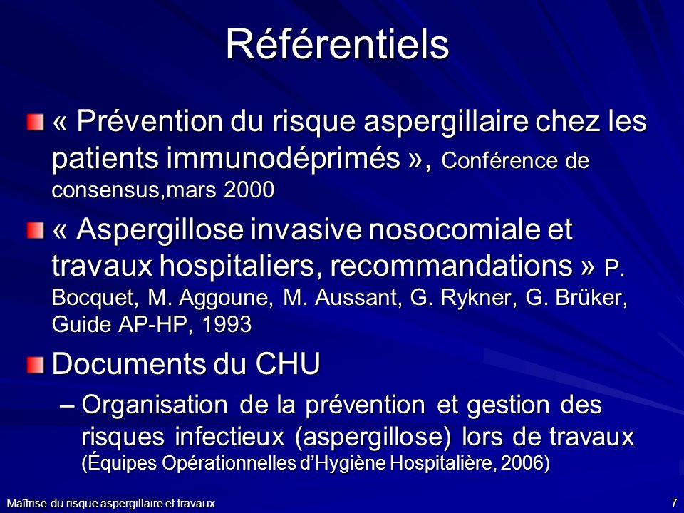 Maîtrise du risque aspergillaire et travaux7Référentiels « Prévention du risque aspergillaire chez les patients immunodéprimés », Conférence de consen