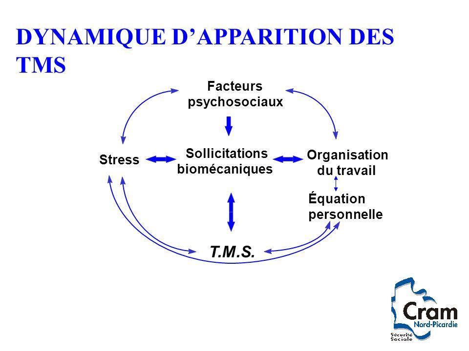 Organisation du travail T.M.S. Stress Sollicitations biomécaniques Équation personnelle Facteurs psychosociaux DYNAMIQUE DAPPARITION DES TMS