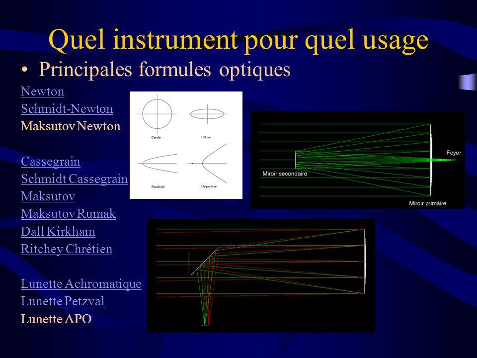 Quel instrument pour quel usage Principales formules optiques Newton Schmidt-Newton Maksutov Newton Cassegrain Schmidt Cassegrain Maksutov Maksutov Ru