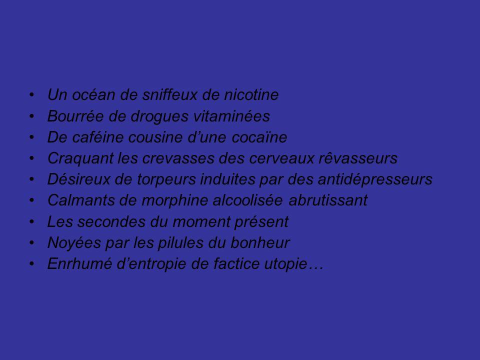 Un océan de sniffeux de nicotine Bourrée de drogues vitaminées De caféine cousine dune cocaïne Craquant les crevasses des cerveaux rêvasseurs Désireux