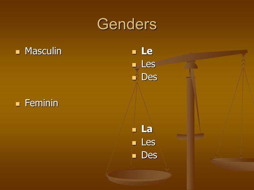 Genders Masculin Masculin Feminin Feminin Le Les Des La Les Des