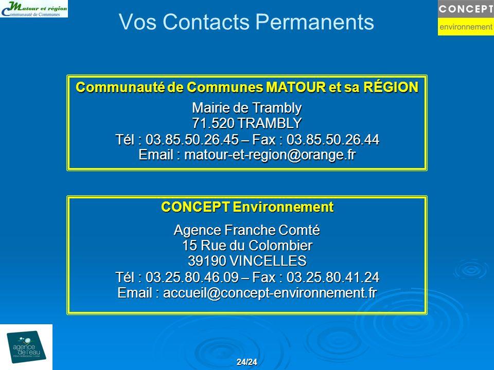 Vos Contacts Permanents CONCEPT Environnement Agence Franche Comté 15 Rue du Colombier 39190 VINCELLES Tél : 03.25.80.46.09 – Fax : 03.25.80.41.24 Ema