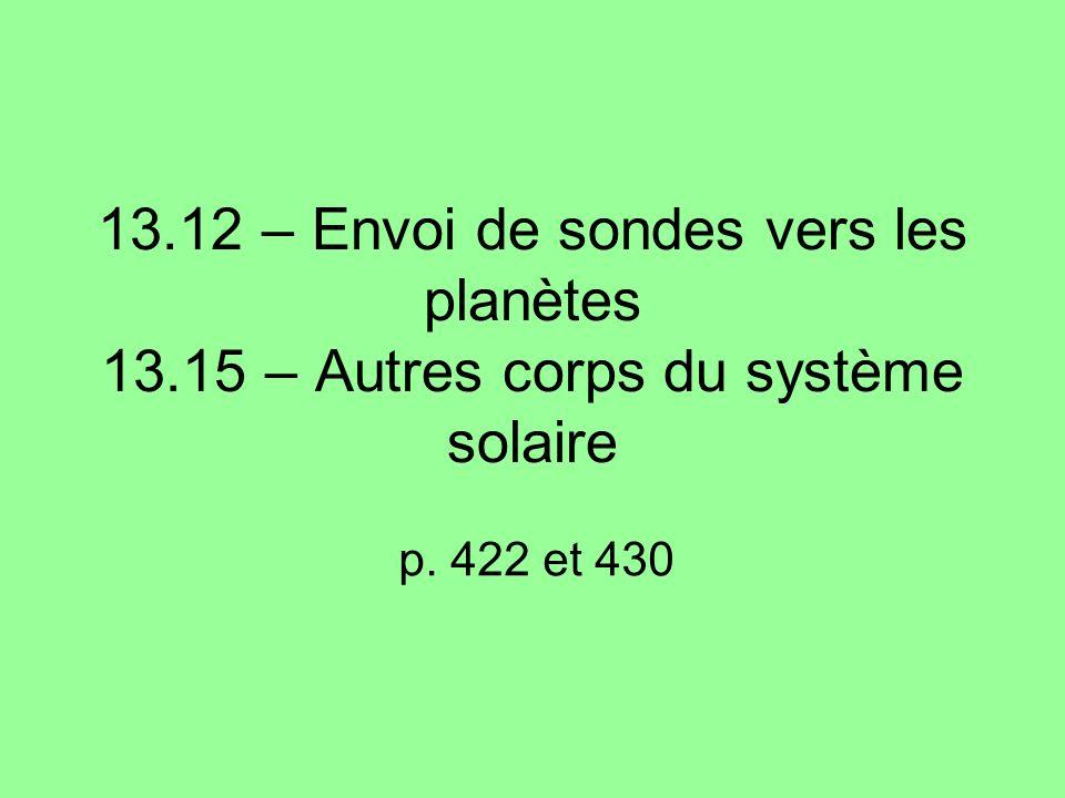 13.12 – Envoi de sondes vers les planètes 13.15 – Autres corps du système solaire p. 422 et 430