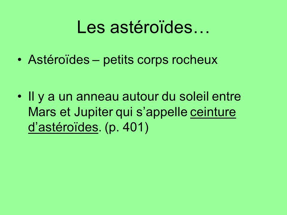 Les astéroïdes… Astéroïdes – petits corps rocheux Il y a un anneau autour du soleil entre Mars et Jupiter qui sappelle ceinture dastéroïdes.
