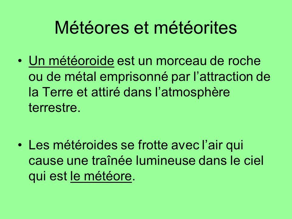 Météores et météorites Un météoroide est un morceau de roche ou de métal emprisonné par lattraction de la Terre et attiré dans latmosphère terrestre.