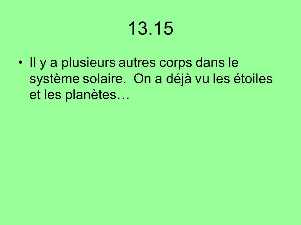 13.15 Il y a plusieurs autres corps dans le système solaire.