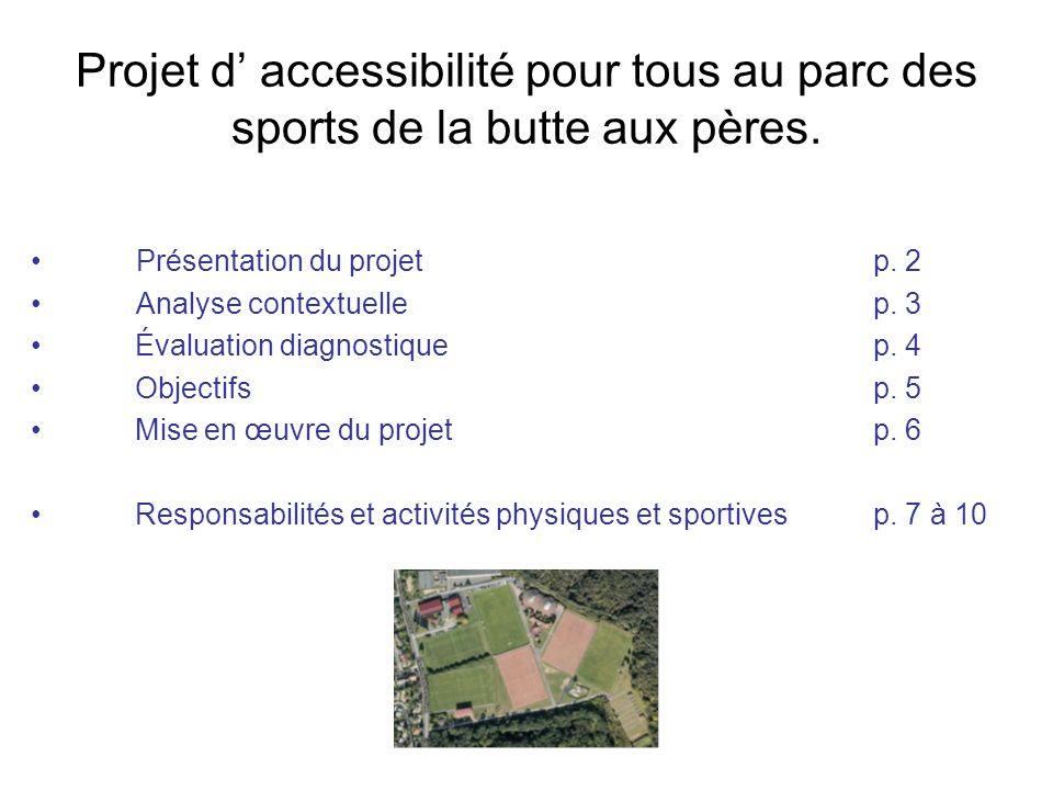 Projet d accessibilité pour tous au parc des sports de la butte aux pères. Présentation du projetp. 2 Analyse contextuelle p. 3 Évaluation diagnostiqu
