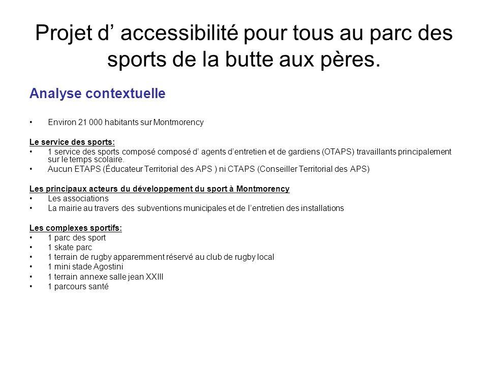 Projet d accessibilité pour tous au parc des sports de la butte aux pères. Analyse contextuelle Environ 21 000 habitants sur Montmorency Le service de