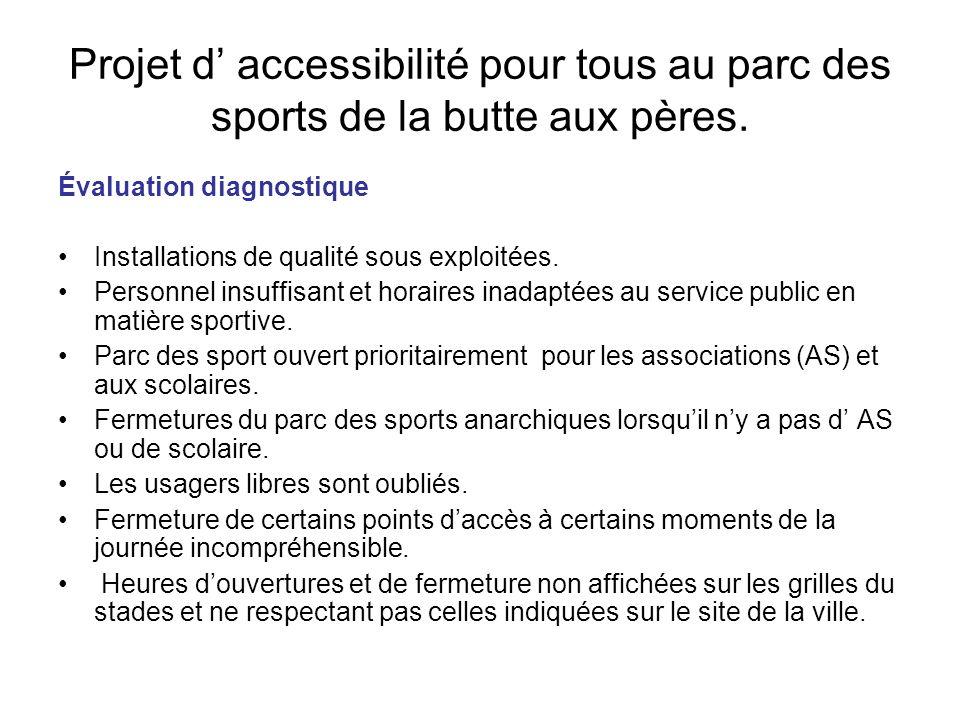 Projet d accessibilité pour tous au parc des sports de la butte aux pères. Évaluation diagnostique Installations de qualité sous exploitées. Personnel