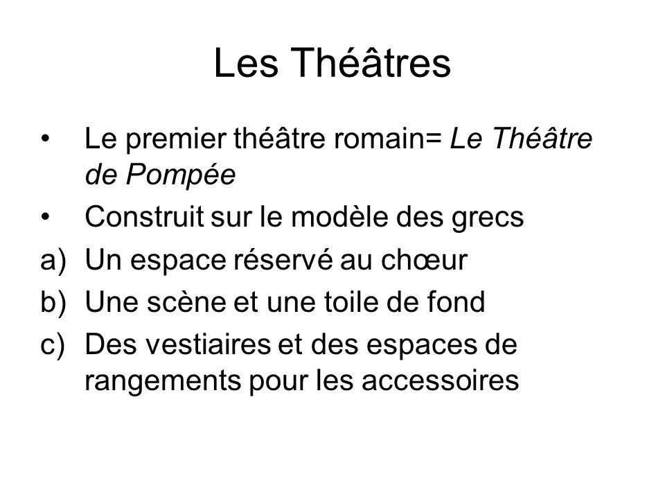 Les Théâtres Le premier théâtre romain= Le Théâtre de Pompée Construit sur le modèle des grecs a)Un espace réservé au chœur b)Une scène et une toile d