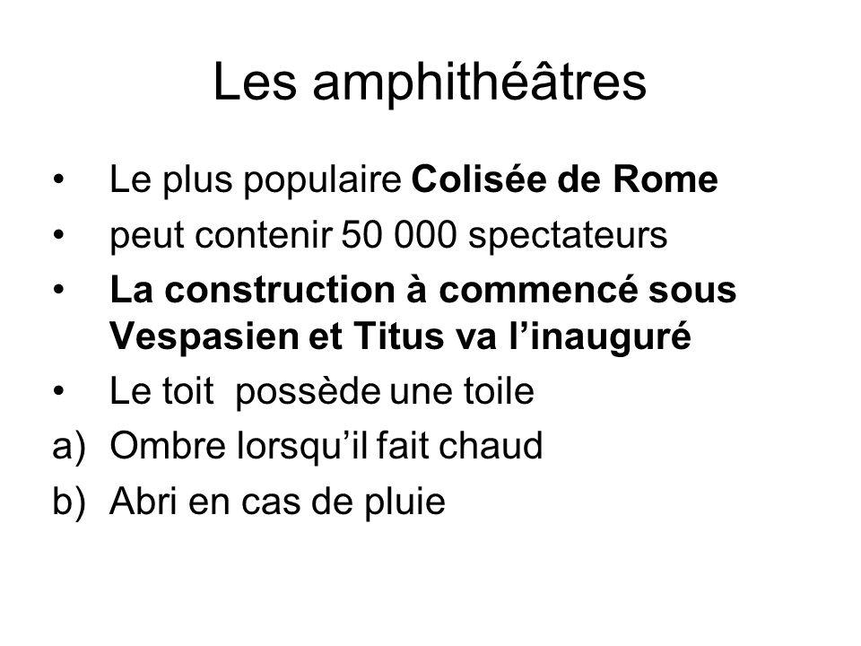 Les amphithéâtres Les membres des deux sexes sont séparés Lors de linauguration du colisée a)Duré 100 jours b)9000 animaux ont été tués c)gladiateurs