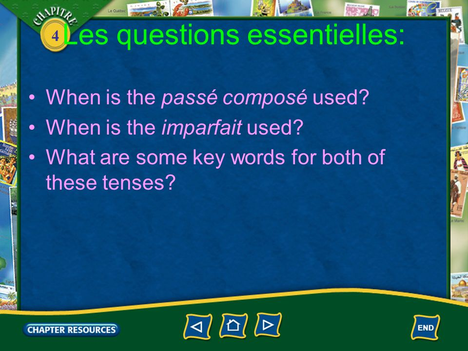 4 Limparfait et le passé composé 1.The decision to use the passé composé or the imperfect tense depends upon whether you are describing an action or event that took place at a definite time in the past or whether you are describing or reminiscing about a continuous, recurring action in the past.