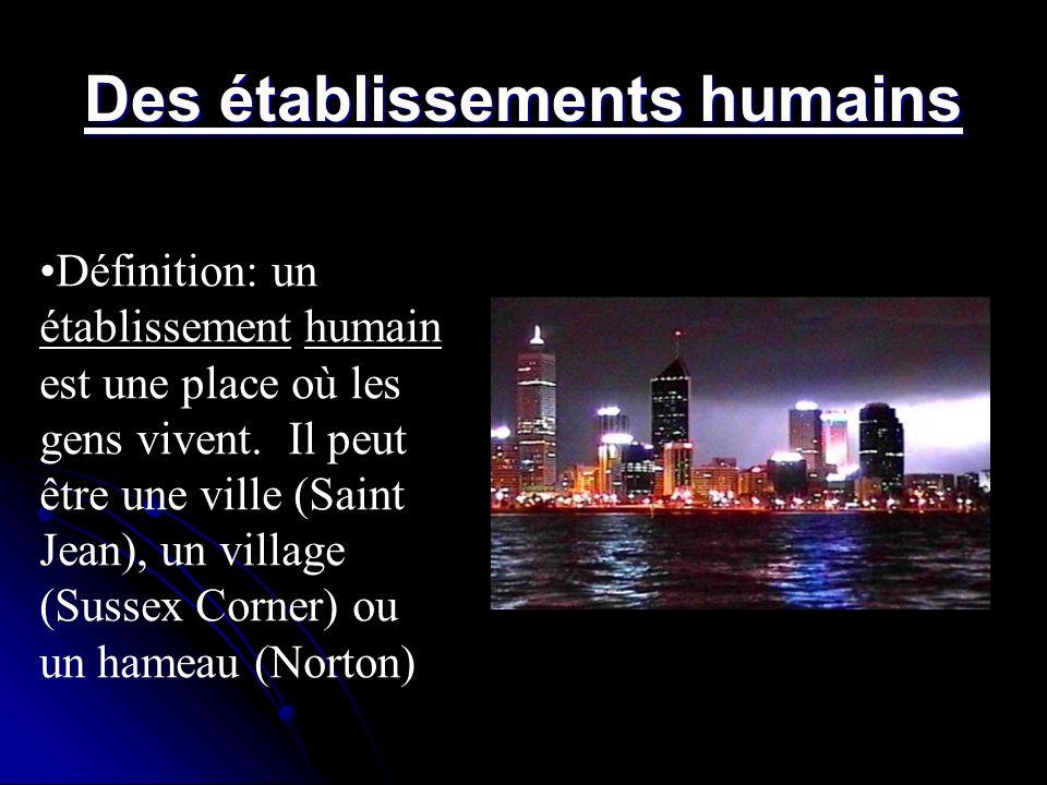 Des établissements humains Définition: un établissement humain est une place où les gens vivent. Il peut être une ville (Saint Jean), un village (Suss