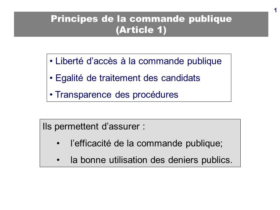 1 Principes de la commande publique (Article 1) Liberté daccès à la commande publique Egalité de traitement des candidats Transparence des procédures