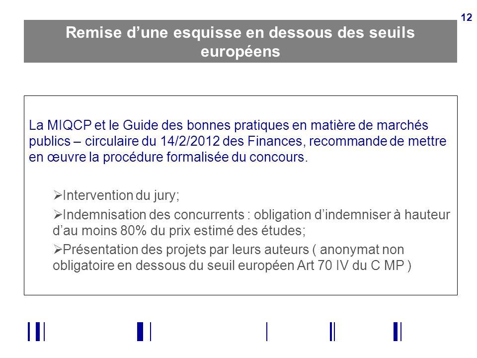 12 Remise dune esquisse en dessous des seuils européens La MIQCP et le Guide des bonnes pratiques en matière de marchés publics – circulaire du 14/2/2