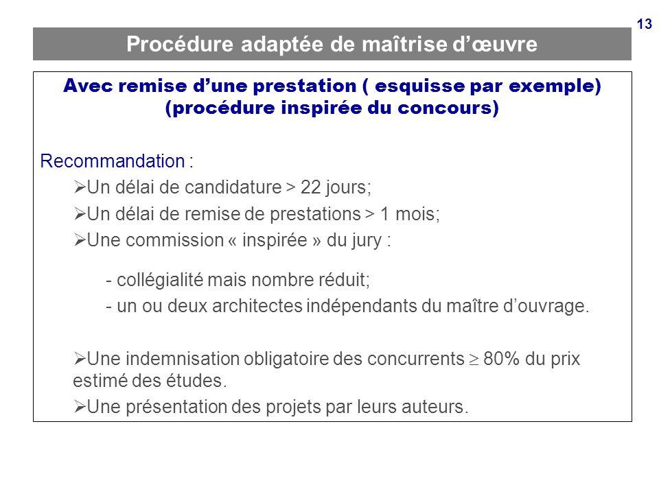 13 Procédure adaptée de maîtrise dœuvre Avec remise dune prestation ( esquisse par exemple) (procédure inspirée du concours) Recommandation : Un délai