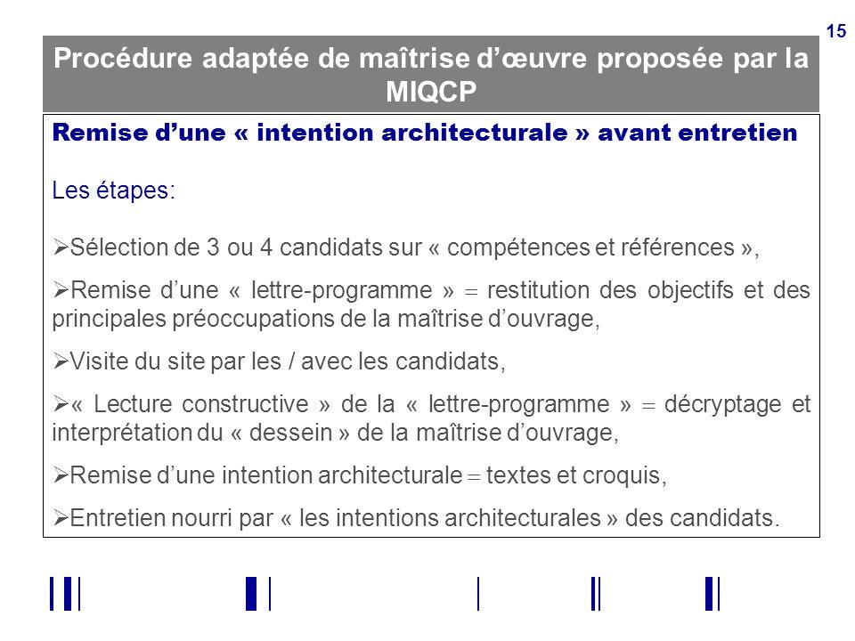 15 Procédure adaptée de maîtrise dœuvre proposée par la MIQCP Remise dune « intention architecturale » avant entretien Les étapes: Sélection de 3 ou 4