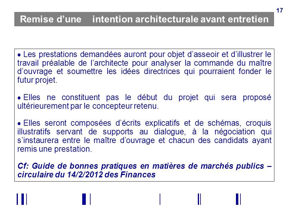 17 Remise dune intention architecturale avant entretien Les prestations demandées auront pour objet dasseoir et dillustrer le travail préalable de lar
